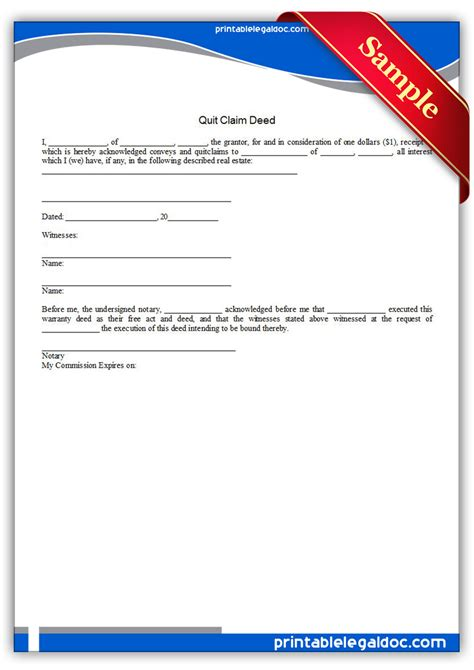 printable quit claim deed free printable quit claim deed form generic
