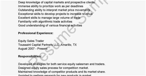 Equity Sales Trader Sle Resume by Resume Sles Equity Sales Trader Resume Sle