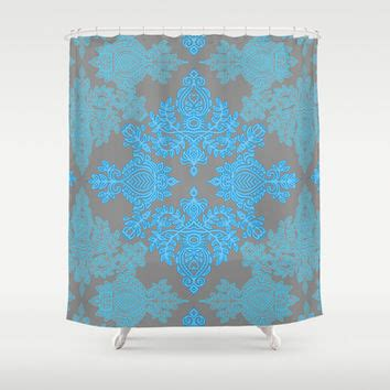 grey and turquoise shower curtain shop grey and blue shower curtains on wanelo