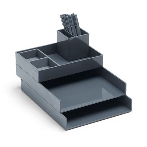 poppin desk accessories poppin gray stacked desk accessories bundle