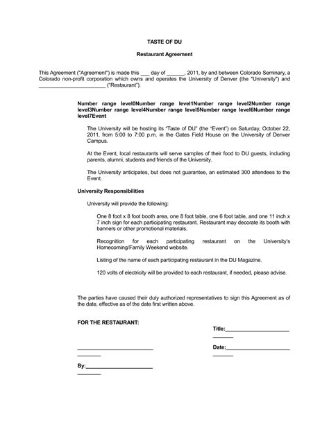 5 Restaurant Business Insurance Agreement Reservations Order Forms And Etc Restaurant Consulting Contract Template