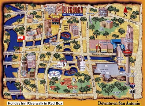 texas attractions map map of san antonio attractions map of the riverwalk area shows location of inn i