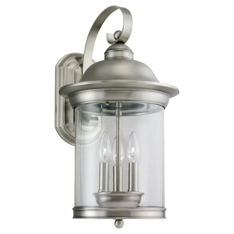 Brushed Nickel Outdoor Light Shop Sea Gull Lighting 19 75 In H Antique Brushed Nickel Outdoor Wall Light At Lowes