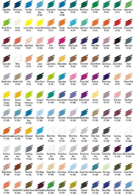 prismacolor color chart prismacolor 132 color pencil sets color chart colored