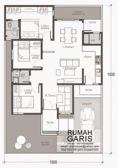 desain rumah 10 x 15 meter denah rumah 3 kamar tidur 1 mushola minimalis sederhana