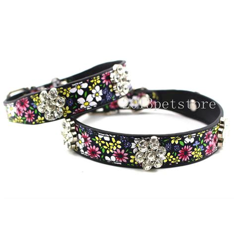 bling collars pet collars cat necklace bling rhinestone flower leather kitten puppy collar ebay