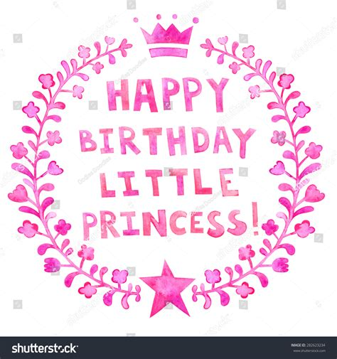 Posh English Words happy birthday little princess watercolor greeting stock