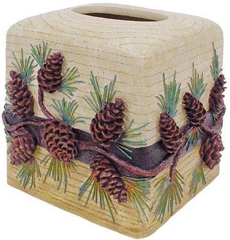 pine cone bathroom decor pinecone cabin lodge bathroom accessories tissue box cover