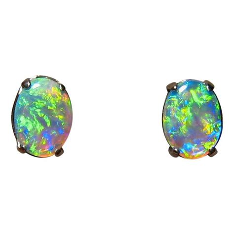 green opal green opal earrings 14k white gold studs flashopal