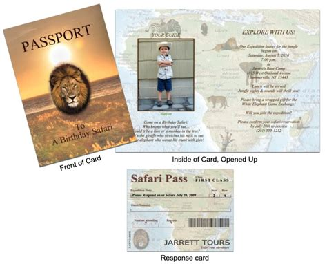 passport invite template passport 24 safari invitation jungle animals 2 custom
