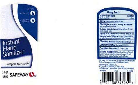instant hand sanitizer  moisturizers  vitamin  gel safeway