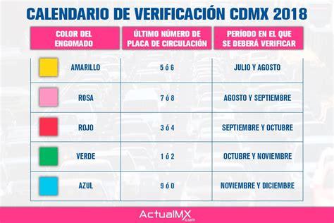 calendario de verificacin 2016 edo mex calendario de verificaci 243 n vehicular 2018 en la cdmx