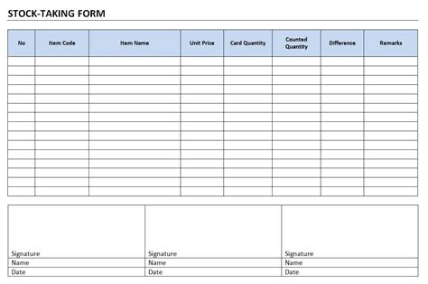 stock card excel template stock taking form