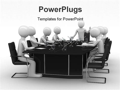 conference powerpoint template powerpoint template of white figures sitting around