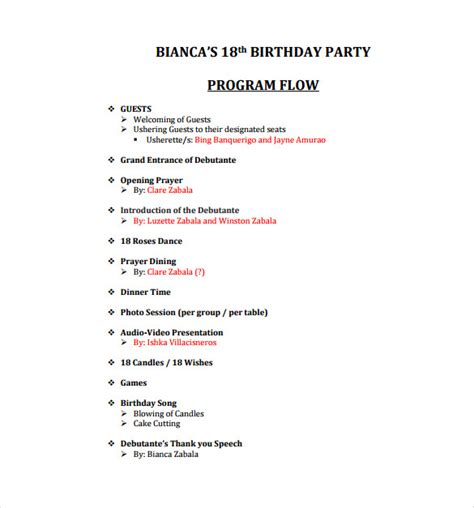 celebration program template birthday program sles
