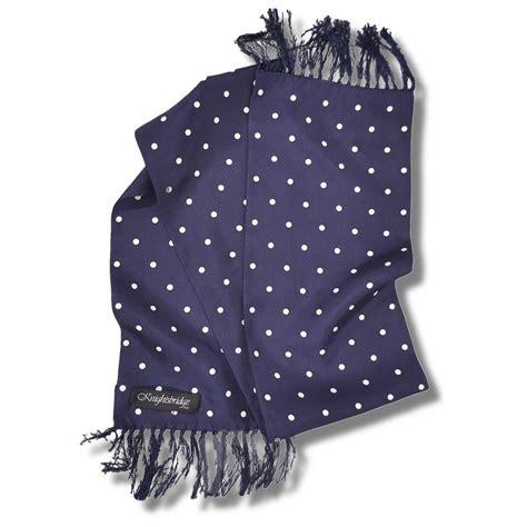 Navy Polka Scarf knightsbridge mod 60 s retro 7 quot silk polka dot pattern scarf navy adaptor clothing