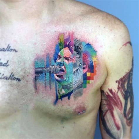 watercolor chest tattoo 50 glitch tattoo designs for men malfunction ink ideas