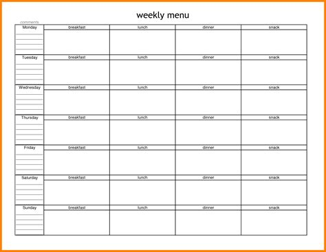 blank meal planner templates 5 blank meal planning template dialysis nurse