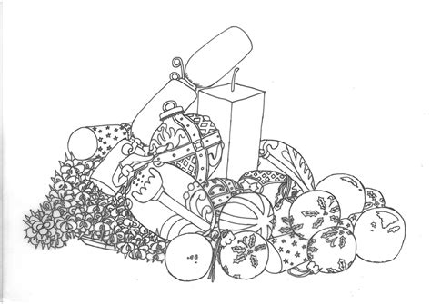 still life christmas decorations sketch by minibaa209 on