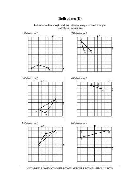 Printable Math Worksheets Reflections | reflection math worksheets geometry worksheets for