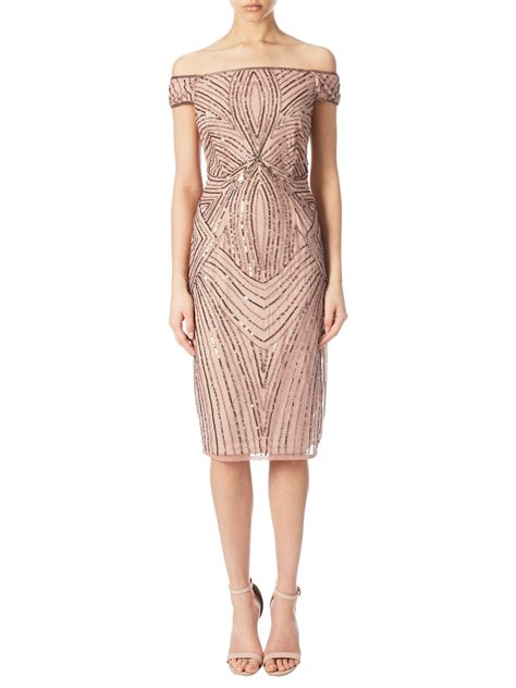 gold beaded cocktail dress papell shoulder beaded cocktail dress