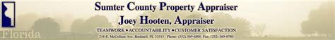 Sumter County Property Records Sumter County Property Appraiser Joey Hooten Bushnell Florida 352 569 6800