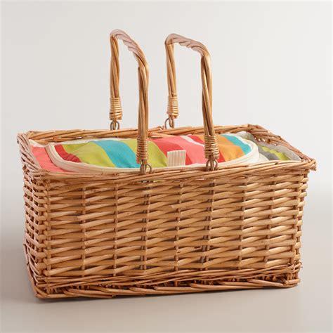 To Market Recap Picnic Basket by Bungalow Stripe Insulated Picnic Basket World Market