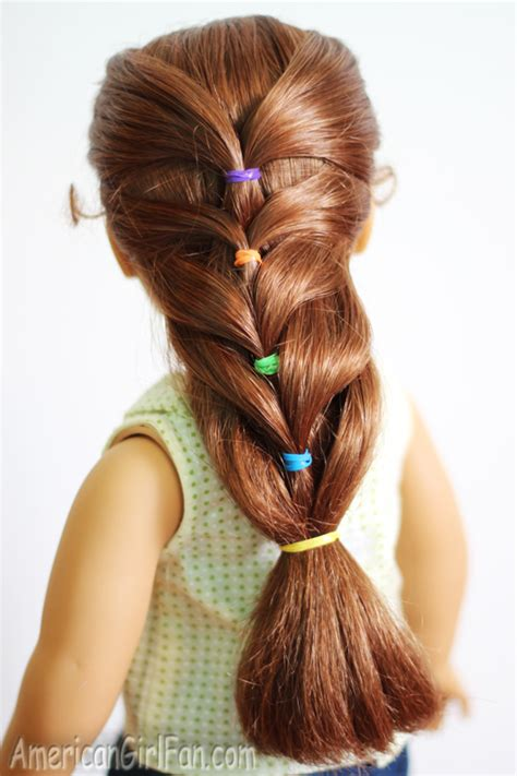 hairstyles using hair ties doll hairstyle rainbow french ponytail americangirlfan