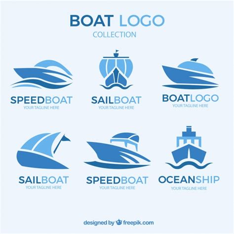 blue wave boats logo abstract boat logo collection vector free download