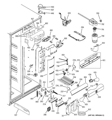ge refrigerator maker parts diagram refrigerator parts ge side by side refrigerator parts diagram