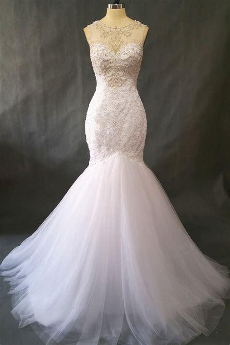 mermaid wedding dress with beading vintage lace pearls beading mermaid wedding dress