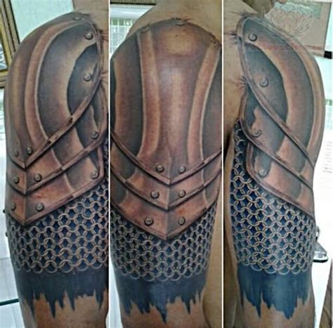 medieval armor tattoo awesome anime boy on right half sleeve