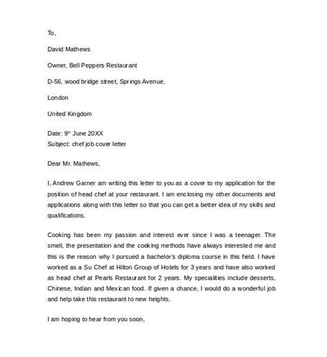 chef cover letter template cover letter exle for 13 free
