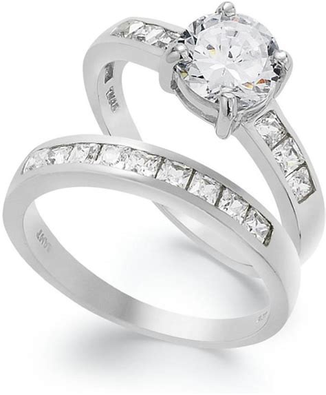 b brilliant sterling silver ring set cubic zirconia
