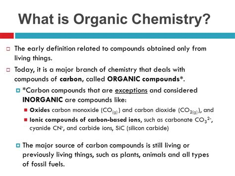 What Is An Organic Compound Unit A Organic Chemistry Ppt