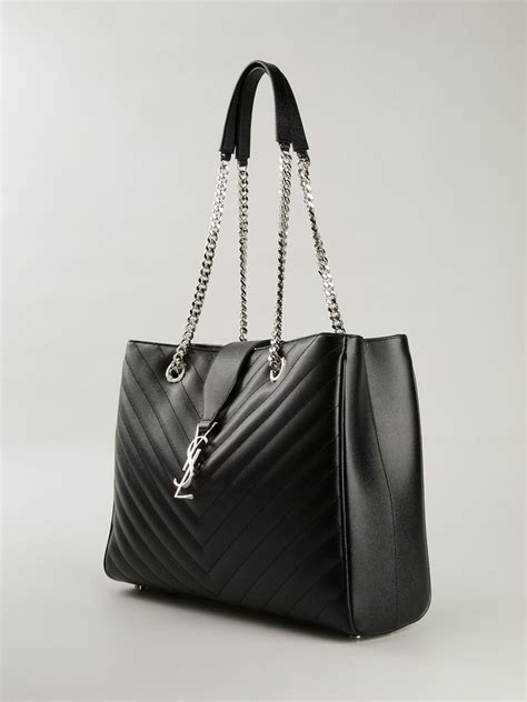 lyst saint laurent monogram tote  black
