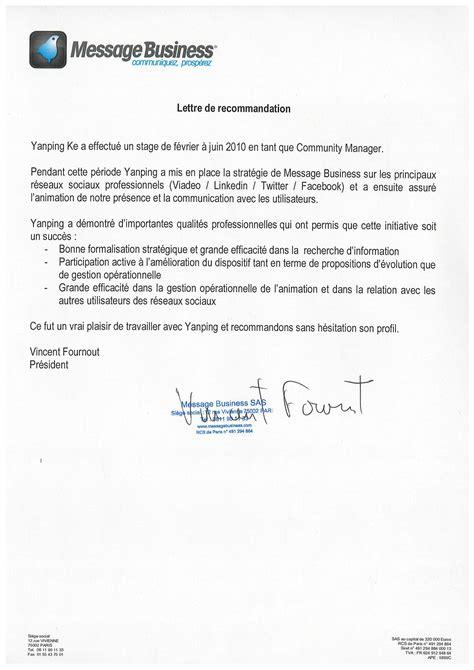 Lettre De Recommandation Recrutement modele lettre de recommandation master
