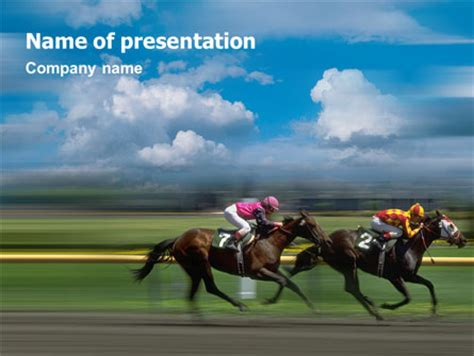 powerpoint themes horse horse races powerpoint template backgrounds 01813