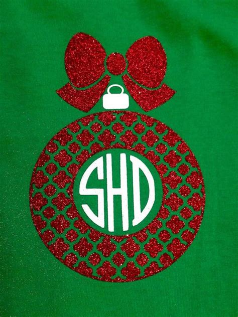 monogram christmas ornament shirt vinyls promotion and