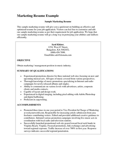 Exle Resume Objectives Marketing marketing resume objective resume ideas