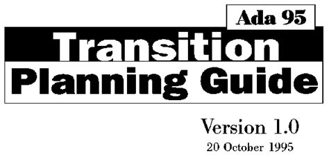 Ada 95 Transition Planning Guide Ada Transition Plan Template