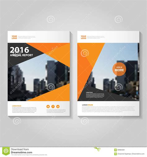 layout cover brochure abstract orange black hexagon annual report leaflet