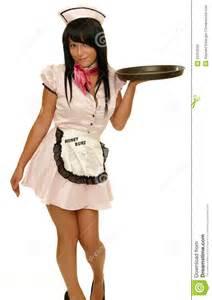 retro waitress  tray stock  image