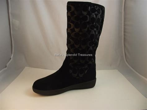 coach tinah black suede mid calf boots shearling lined us