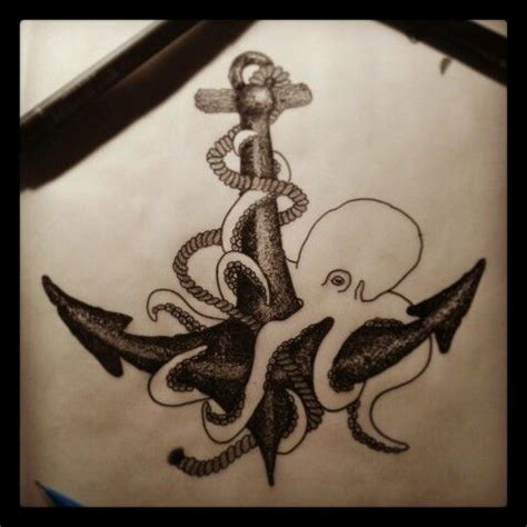 octopus anchor tattoo working on a design anchor and octopus dot work
