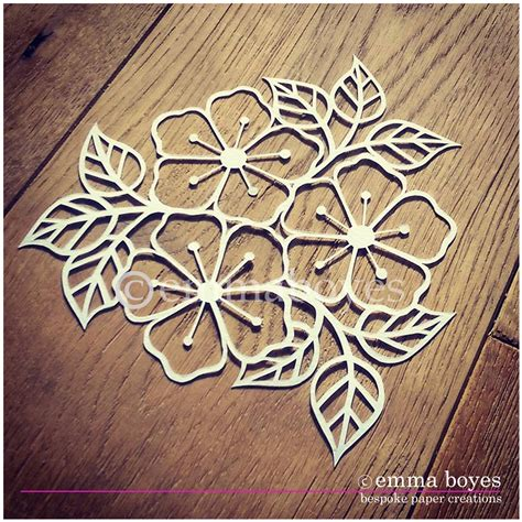 printable pdf paper cutting template flowers and leaves