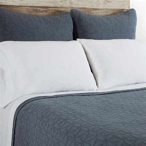 coverlet sham pom pom at home oslo coverlet sham blue denim