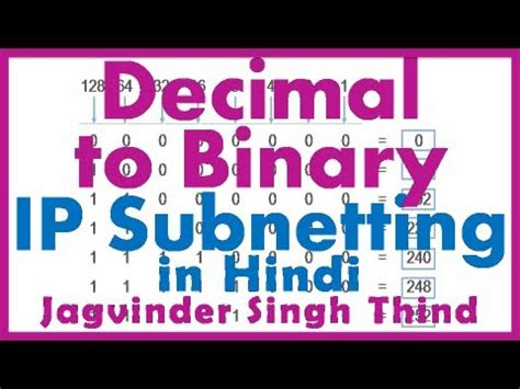 subnetting tutorial for beginners in hindi decimal to binary conversion ip addressing and