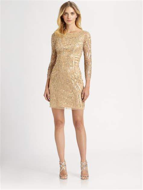 aidan mattox beaded dress aidan mattox beaded dress in gold lyst
