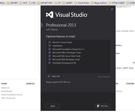 visual studio installer tutorial 2013 visual studio 2013 optional features to install the asp